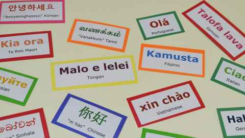 A number of brightly coloured cards of greetings in different languages