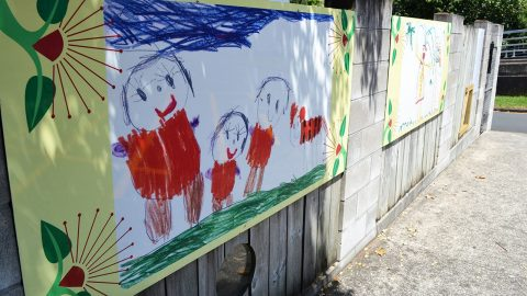 Kids' painting on the wall of an ECE centre