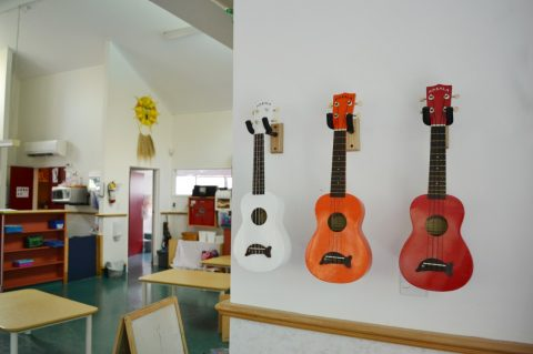 Guitars on a wall at the early childhood centre