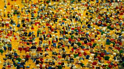 A crowd of Lego characters.