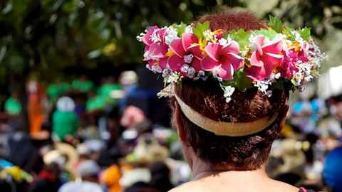 Woman in the crowd at Pasifika festival
