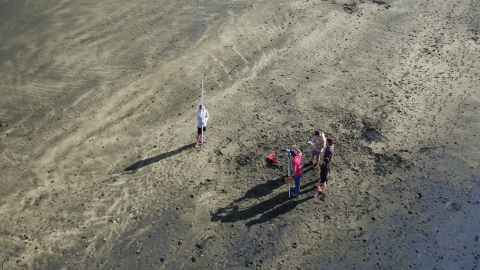 Students taking measurements at Muriwai Beach from above.
