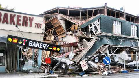 Damaged shops following Canterbury quake. Image by Martin Luff.