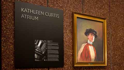 Plaque and portrait of Kathleen Curtis