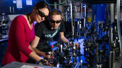 Researchers working at the Photon Factory