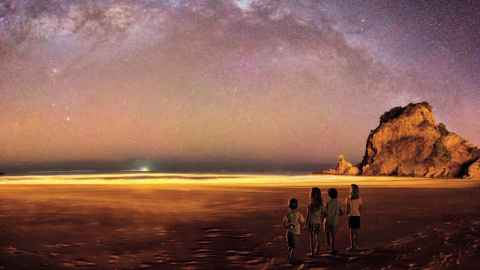 Night sky with children