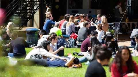 Students relaxing in the Quad outdoor space