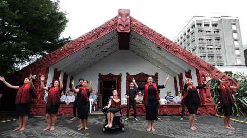 A powhiri takes place on the University marae.