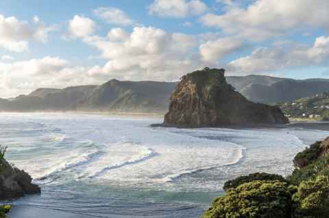 Piha Beach and Lion Rock from headland